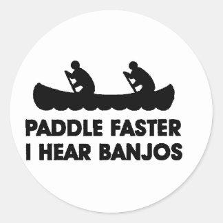 Paddle Faster I Hear Banjo's Round Sticker