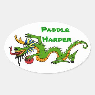 Paddle Harder Dragon Boat Oval Sticker
