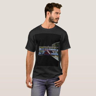 Paddle Steamer Popout Art, Mens Black T-shirt