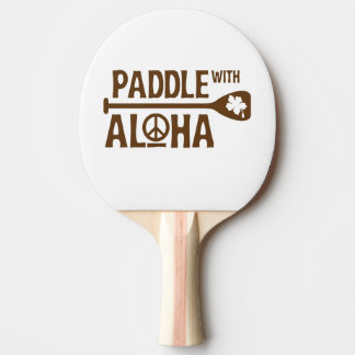 Paddle With Aloha Ping Pong Paddle -Brown Hibiscus