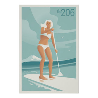 Paddleboarding Lake Washington Poster