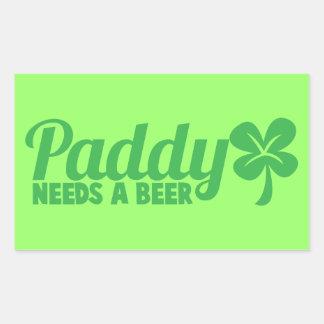 PADDY needs a beer! St Patricks day drinkin design Rectangular Sticker