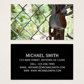 Padlock Lock Chain Link Fence NYC Urban Photograph Business Card