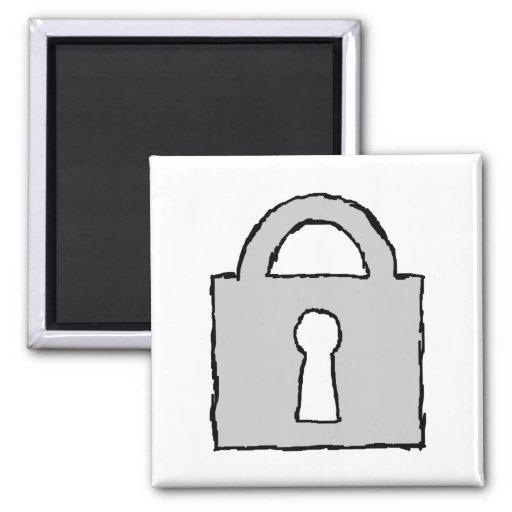 Padlock. Top Secret or Confidential Icon. Fridge Magnets
