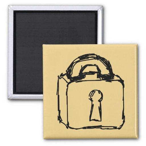 Padlock. Top Secret or Security Icon. Fridge Magnet
