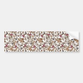 padrão com borboletas e flores bumper sticker