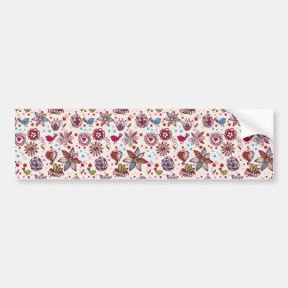 padrão com passaros e flores bumper stickers