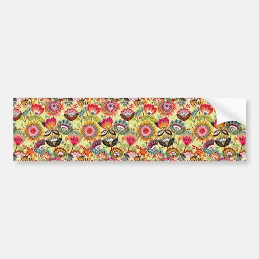 padrão com ramos de flores bumper sticker