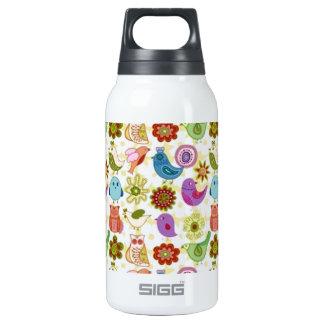 padrão divertido de flores e passaros 0.3L insulated SIGG thermos water bottle