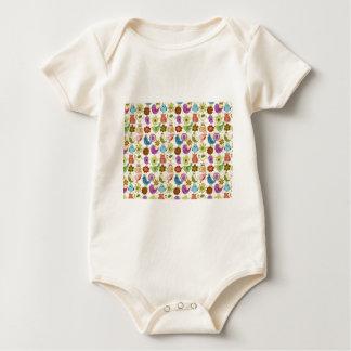 padrão divertido de flores e passaros baby bodysuit