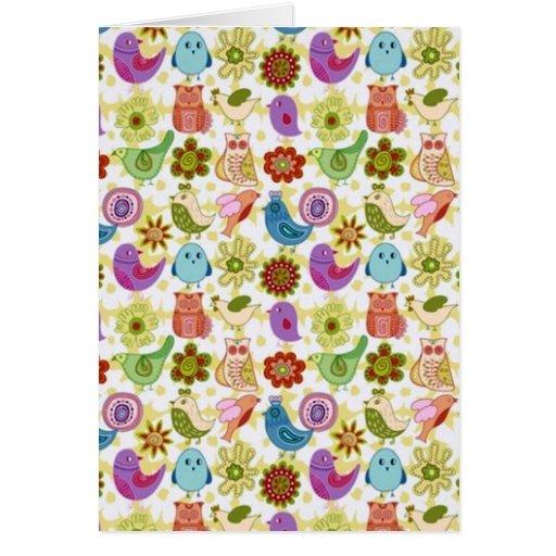 padrão divertido de flores e passaros card