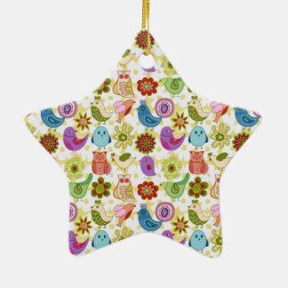 padrão divertido de flores e passaros ornament