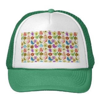 padrão divertido de flores e passaros trucker hat