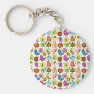 padrão divertido de flores e passaros key chains