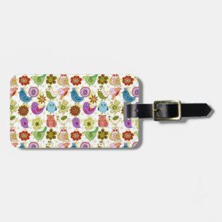padrão divertido de flores e passaros bag tag
