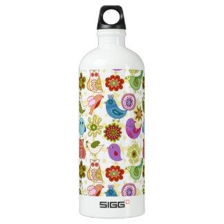 padrão divertido de flores e passaros SIGG traveller 1.0L water bottle