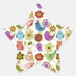 padrão divertido de flores e passaros star sticker