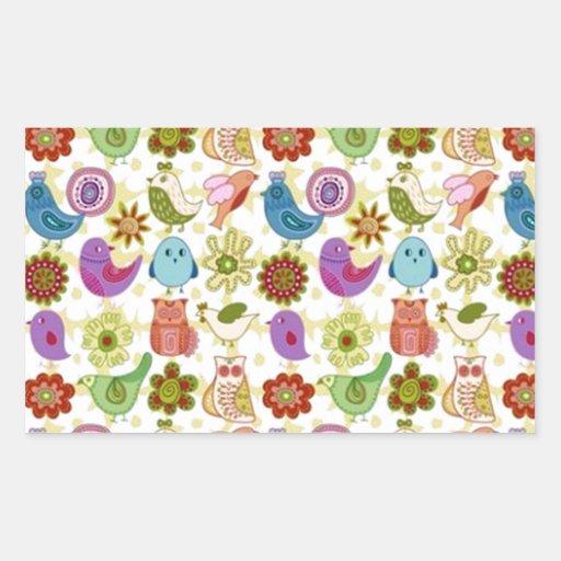 padrão divertido de flores e passaros rectangle stickers