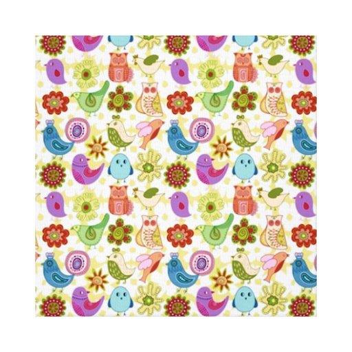 padrão divertido flores e passaros canvas print