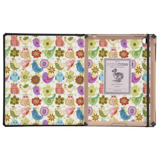 padrão divertido flores e passaros iPad cases