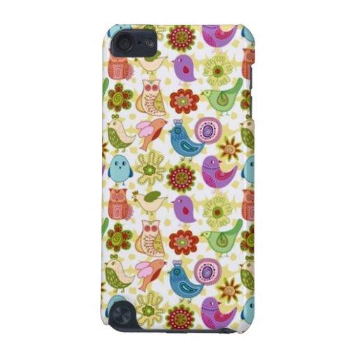 padrão divertido flores e passaros iPod touch (5th generation) case
