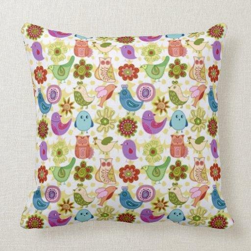 padrão divertido flores e passaros pillows