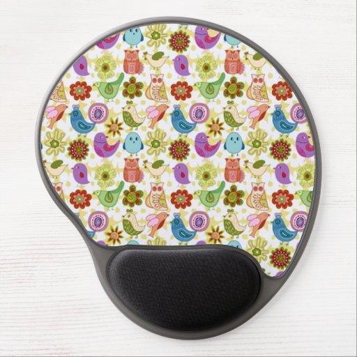padrão divertido flores e passaros gel mouse pad