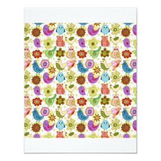 padrão divertido flores e passaros invites