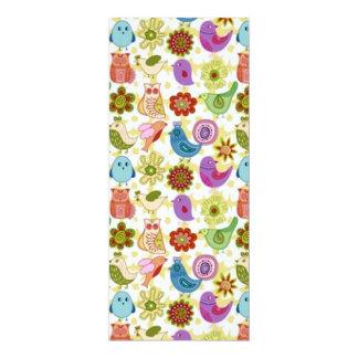 """padrão divertido flores e passaros 4"""" x 9.25"""" invitation card"""