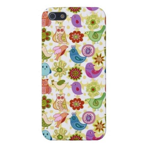 padrão divertido flores e passaros case for iPhone 5/5S