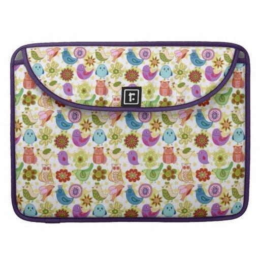 padrão divertido flores e passaros sleeve for MacBook pro