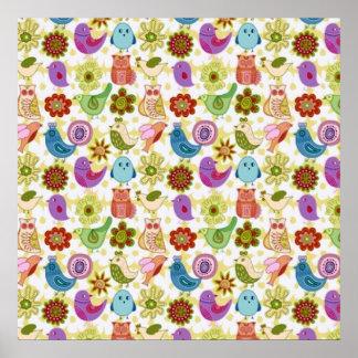 padrão divertido flores e passaros poster