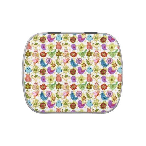 padrão divertido flores e passaros jelly belly candy tin