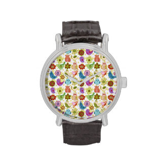 padrão divertido flores e passaros watches