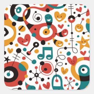 padrão divertido square sticker