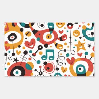 padrão divertido rectangular sticker