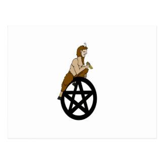 Pagan God Pan and Pentacle Postcard