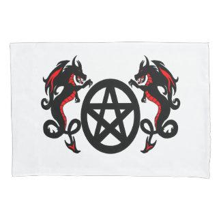 Pagan Pentacle and Two Red and Black Dragons Pillowcase