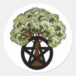 Pagan Pentacle Tree Classic Round Sticker