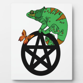 Pagan Pentacle with Lizard and Butterfly Photo Plaque