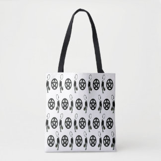 Pagan Pentacles and Witches' Black Cats Tote Bag