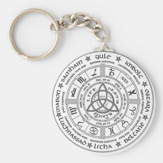 Pagan wheel of the Year Basic Round Button Key Ring