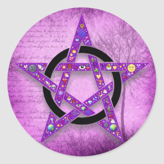 Pagan Wicca Pentagram Star Purple Classic Round Sticker