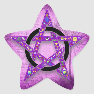 Pagan Wicca Pentagram Star Purple Sticker