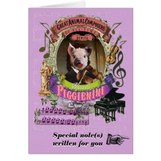 Paganini Parody Piggienini Animal Composer Piglet Card