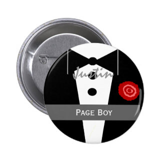 PAGE BOY Custom Name Tux Wedding 6 Cm Round Badge