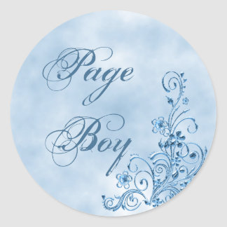 Page Boy Envelope Seals: Sky Blue Elegance Round Sticker