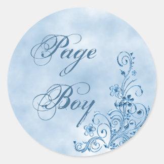 Page Boy Envelope Seals: Sky Blue Elegance Round Sticker