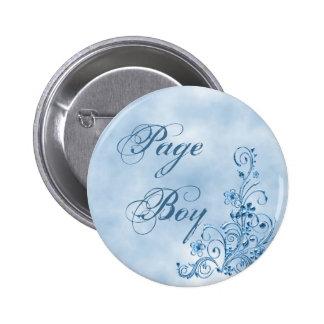 Page Boy Round Button Sky Blue Elegance