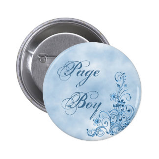 Page Boy Round Button: Sky Blue Elegance 6 Cm Round Badge